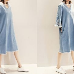 NANING9 - Denim Fringed Dress