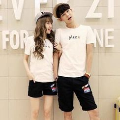 Azure - Couple Matching Pizza Print T-Shirt / Print Shorts