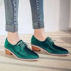 JY Shoes - Chunky Heel Pointed Velvet Oxfords