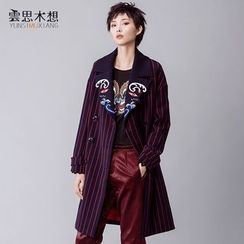 Cloudwood - Embroidered Lapel Striped Double-Breasted Coat