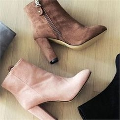 YOOM - Faux-Suede Chunky-Heel Ankle Boots