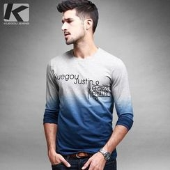 Quincy King - Gradient Letter Long-Sleeve T-shirt
