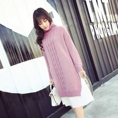 Coolvibe - Turtleneck Slit-Side Long Sweater
