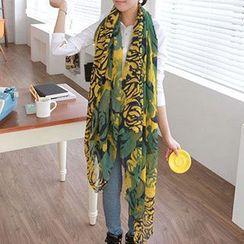 Rita Zita - Floral Print  Linen-blend  Scarf