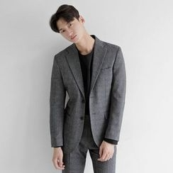 Seoul Homme - Check-Pattern Single Jacket