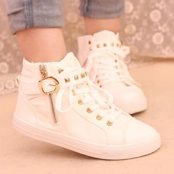 IYATO - Studded Buckled High-Top Sneakers