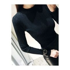 ATTYSTORY - Crew-Neck Rib-Knit Top