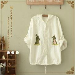 Angel Love - Embroidered Rabbit Cuff Sleeve Hooded Jacket