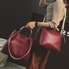 Devant - Set : Faux Leather Tote Bag + Shoulder Bag