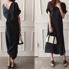 NIPONJJUYA - V-Neck Knotted-Back Long Dress