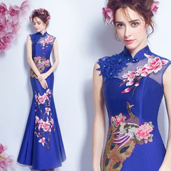Angel Bridal - Sleeveless Embroidery Sheath Cheongsam