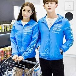 Evolu Fashion - Couple Matching Lettering Hooded Light Jacket
