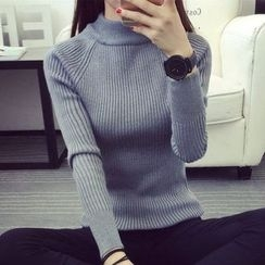 anzoveve - Plain Mock Neck Sweater