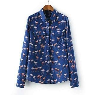 Flower Idea - Ostrich-Print Chiffon Shirt