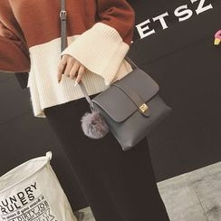 Rosanna Bags - Pompom Faux Leather Shoulder Bag