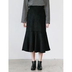 FROMBEGINNING - Ruffle-Hem Faux-Suede Long Skirt