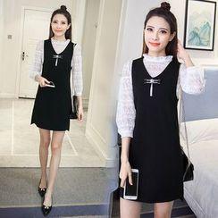 Rosehedge - 套装: 七分袖蕾丝衬衫 + 纯色背心裙