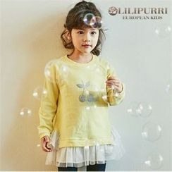 LILIPURRI - Girls Tulle-Hem Illustration Pullover