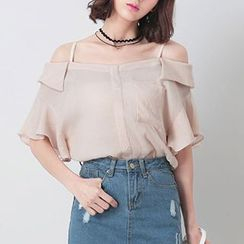 Nimill - Off Shoulder Elbow Ruffle Sleeve Top