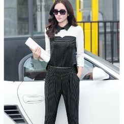 Romantica - Striped-Panel Jumpsuit