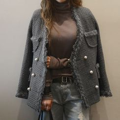 NANING9 - Wool Blend Fringed Tweed Jacket