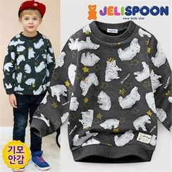 JELISPOON - Boys Bear Print Fleece-Lined Sweatshirt