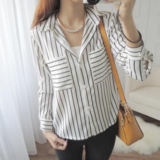 CYNTHIA - Long-Sleeve Patterned Chiffon Shirt