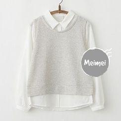 Meimei - Panel Mock Two-Piece Shirt