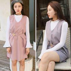 CHIH - Plain V-Neck Woolen Pinafore Dress