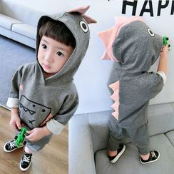 Pinty - Kids Set: Dinosaur Print Pullover + Tapered Pants