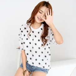 59 Seconds - Elbow-Sleeve Star Print Top
