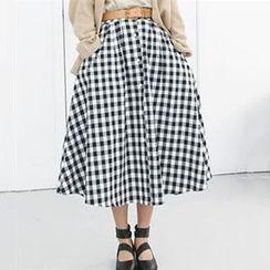 Champi - A-Line Check Midi Skirt
