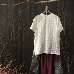 Rosadame - 短袖立领衬衫