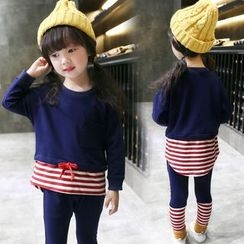 Merry Go Round - Kids Set: Mock Two Piece Pullover + Leggings
