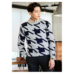 HOTBOOM - Crew-Neck Houndstooth Sweater