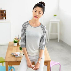 59 Seconds - Round-Neck Striped-Sleeve T-Shirt