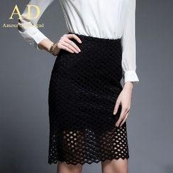 Aision - Crochet Panel Skirt