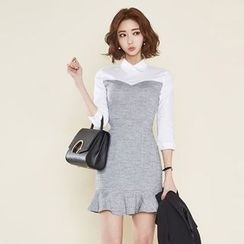 Clospace - 七分袖仿两件塑身连衣裙