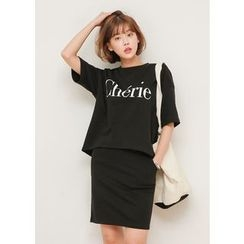 J-ANN - Set: Lettering T-Shirt + Skirt