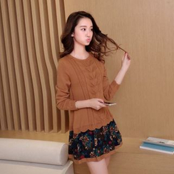 Bubbleknot - Long-Sleeve Mock Two Piece Knit Dress