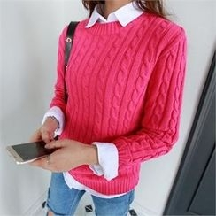 PIPPIN - Round-Neck Cable-Knit Top