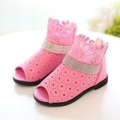 Luco - Kids Rhinestone Perforated Sandals