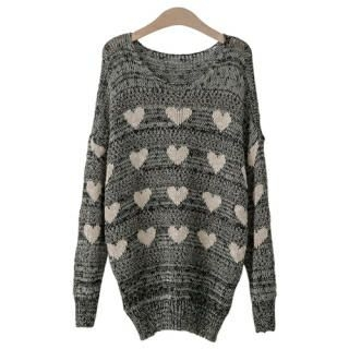 PEPER - Heart-Pattern Sweater