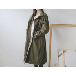 JUSTONE - Funnel-Neck Fleece-Lined Cotton Long Parka