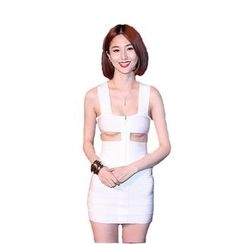 Hotprint - Cut Out Detailed Sleeveless Mini Bodycon Dress