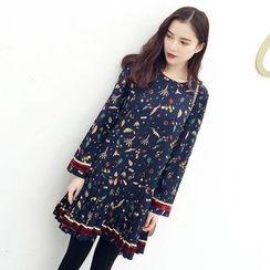 Kofushi - Floral Print Pleated Chiffon Dress