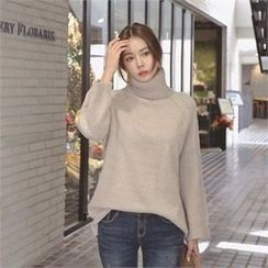 TOM & RABBIT - Turtle-Neck Pointelle-Knit Top