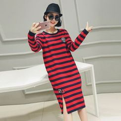 LRZ - Embroidered Stripe Long-Sleeve Tunic