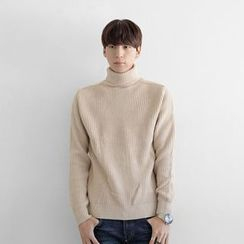 Seoul Homme - Turtle-Neck Ribbed Knit Top