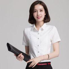 KOKA - 短袖修身雪纺衬衫